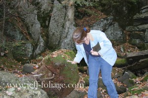 Lisa checking the depth of the moss