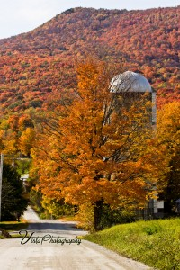 A Vermont silo towers above orange foliage