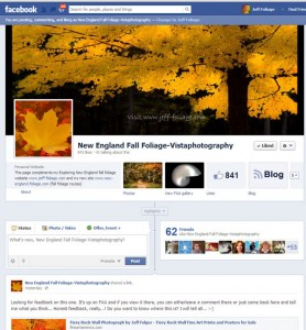 Face book page for fall foliage in new england