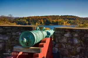 view of fall foliage from Fort Ticonderoga on the New York side of Lake Champlain