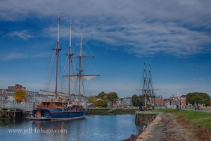 The Friendship tied up along the wharf in Salem with another three masted ship in October