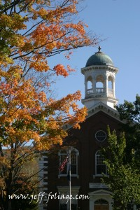 Woodstock city hall in 2003 with fall colors from the maples on the town common