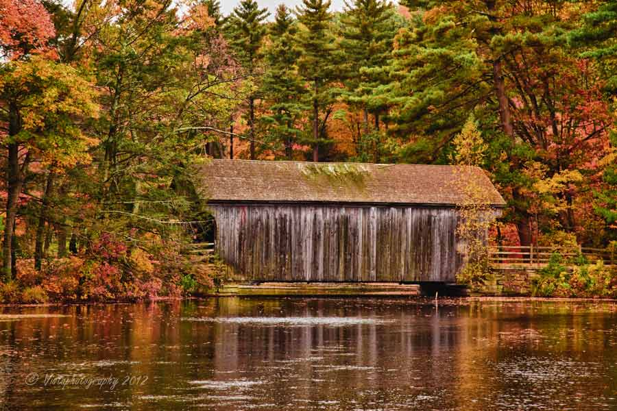 Dummerston Covered bridge was originally in Vermont for about a hundred years until it was time for a new one but instead of destroy the old one the state of Massachusetts and the conservation folks at Old Sturbridge village said they would take it