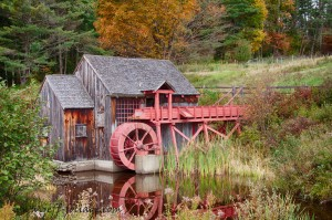 Fall foliage around the grist mill in Vermont