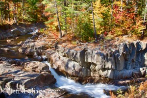 Off Route 17 between Rangeley Maine and Rumford lies Coos Canyon which in the fall is lined with fall foliage colors as the water flows down the chasm.