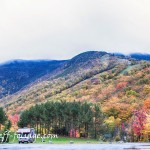 #Vistaphotography #JeffFolger, #JeffFoliage, fall color covers the side of Cannon Mountain in the New Hampshire white mountains