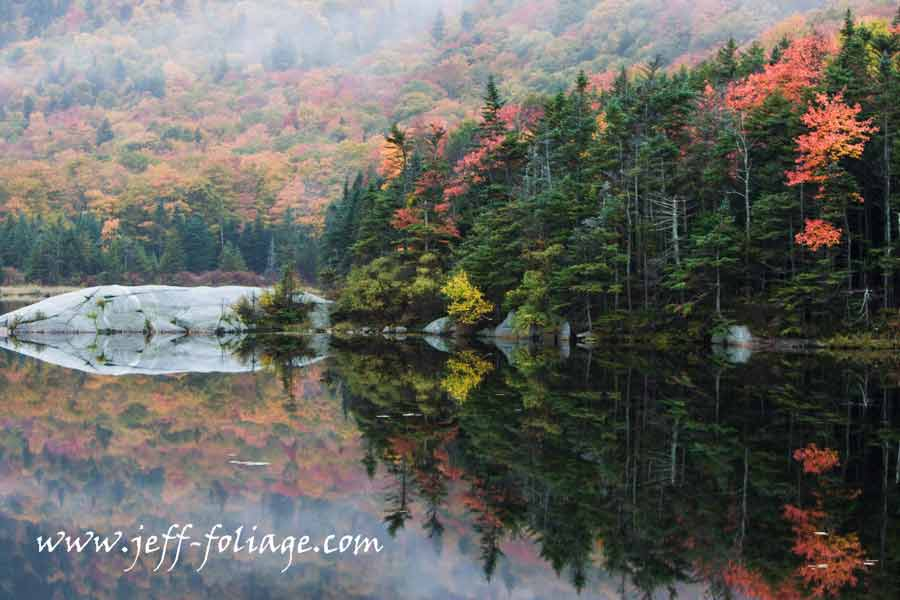 View of the Beaver pond at Kinsman Notch on a foggy morning