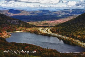 Cannon mountain fall foliage views from a aerial perspective