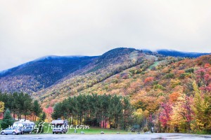 The side of Cannon mountain in fall color