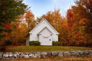 Randolph white church in fall foliage
