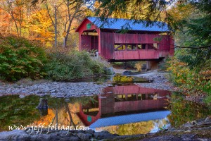 Upper Cox Brook Covered Bridge is in Northfield Vermont and I call it one of the Northfield 5 surrounded by the fall colors
