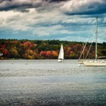 Fall colors on the ocean in New England