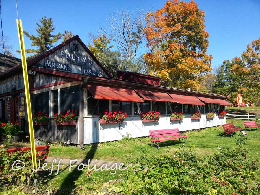 Fall foliage around Polly's in Sugar Hill New Hampshire breakfast spot