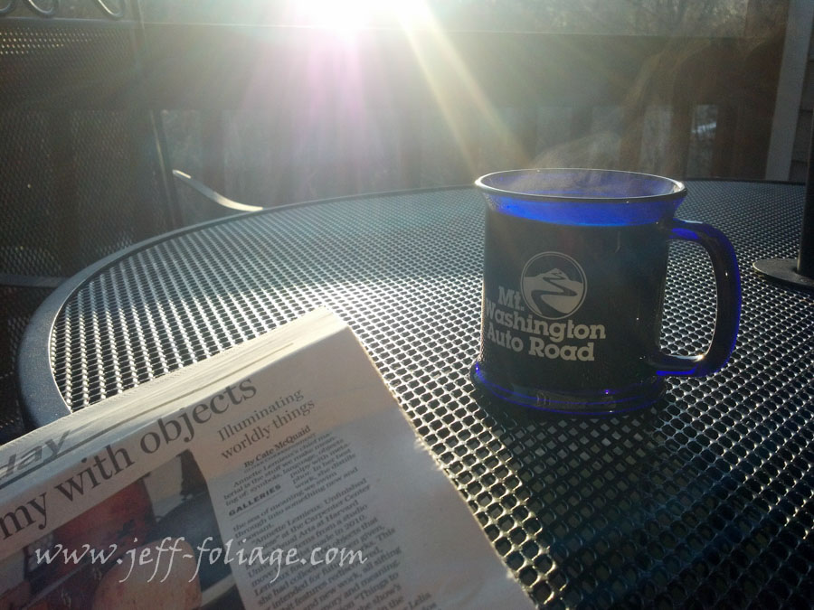 cup of coffee on the deck