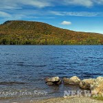 Bald Hill Pond in Westmore, VT is showing a little color