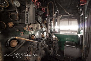 Engine cab of steam locomotive