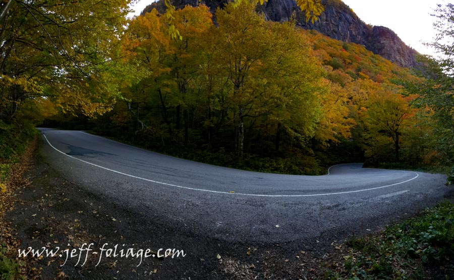 Fall foliage in Vermont's Smugglers'Notch make it difficult to navigate these turns