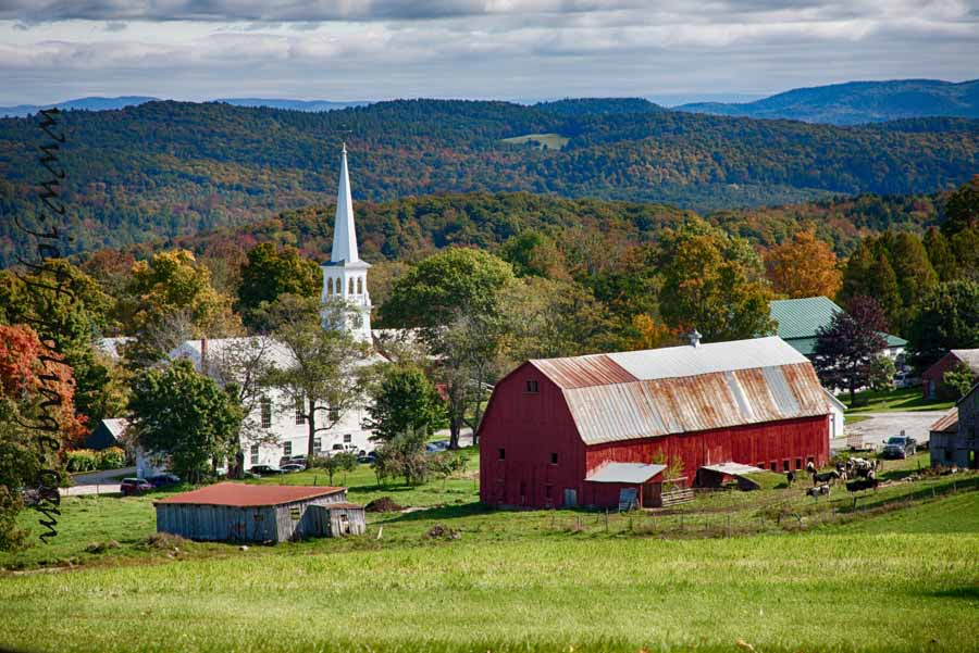 The Peacham view as I call it is the Church and barn in Peacham Vermont. I've been photographing it for some years now and this view seems to be one of the more pleasing ones. Best places to view fall foliage