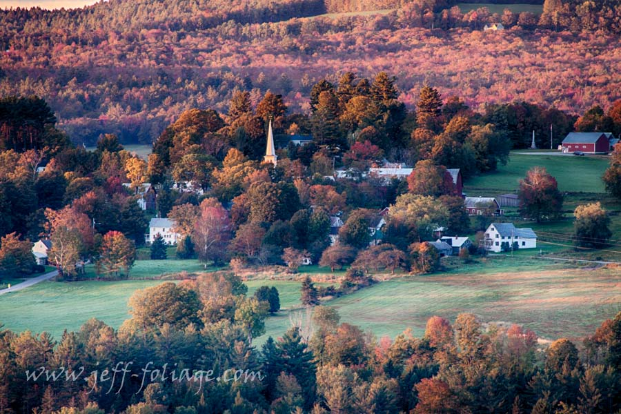 New England fall colors greets Peacham Vermont