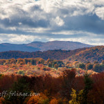 New England fall foliage across Vermont hillside