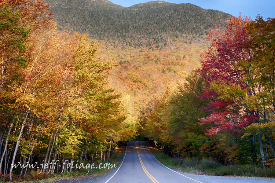 Entrance through the Vermont fall foliage to Smugglers notch