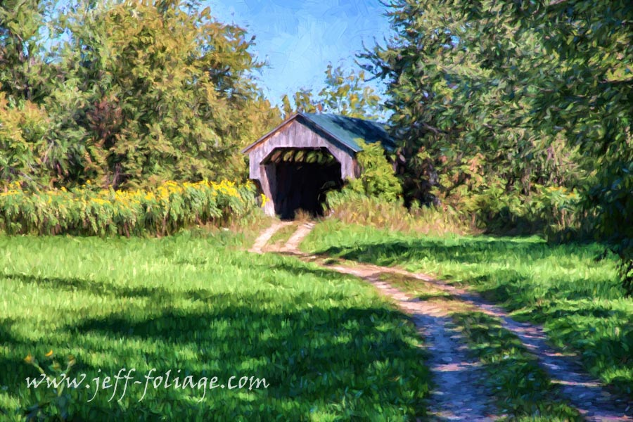 In search of early New England fall Foliage we found the Gates Farm Covered Bridge
