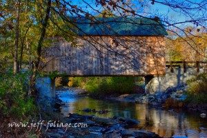 side view of the Bowers covered bridge in autumn