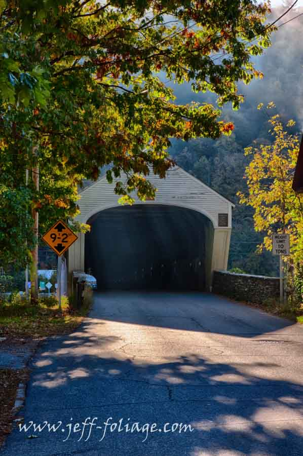 Autumn morning at the Cornish Windsor covered bridge and comment to win
