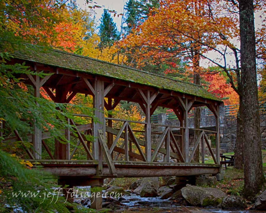 footbridge over Damon stream under the New England fall foliage