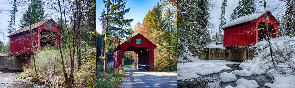 Autumn, winter and spring image banner of Stony Brook covered Bridge