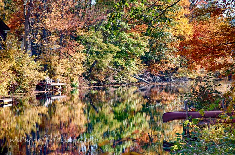 Fall reflection on the Chocorua river in Tamworth county New Hampshire