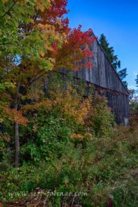 rustic barn on a dirt road in autumn