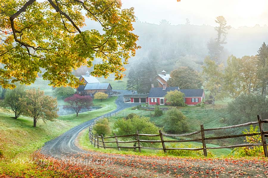 Sleepy hollow far in a Vermont autumn landscape