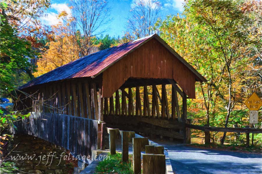 Fall colors above the covered bridge
